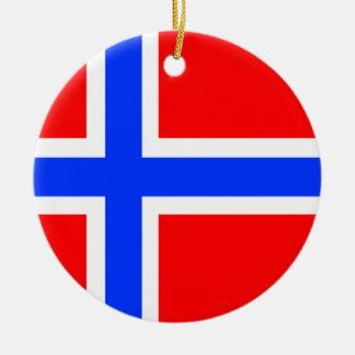 Norwegian Flag Round Ceramic Decoration
