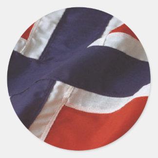 Norwegian Flag Round Stickers