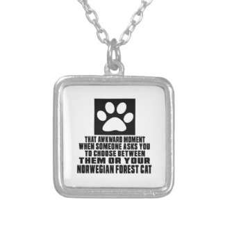 NORWEGIAN FOREST CAT AWKWARD DESIGNS SQUARE PENDANT NECKLACE