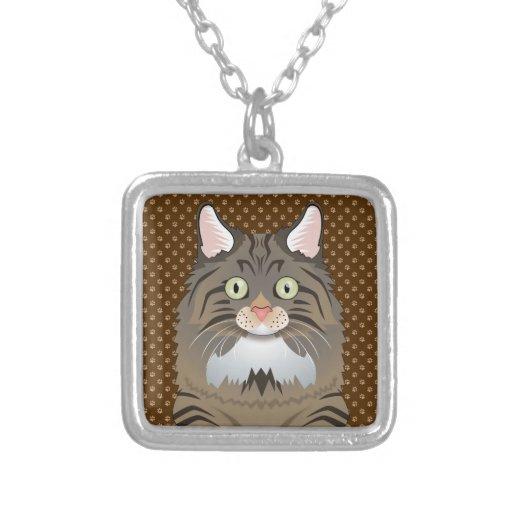 Norwegian Forest Cat Cartoon Paws Custom Necklace