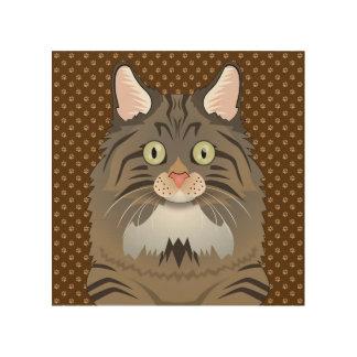 Norwegian Forest Cat Cartoon Paws Wood Print