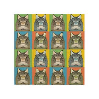 Norwegian Forest Cat Cartoon Pop-Art Wood Print
