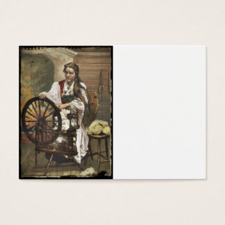 Norwegian Girl a Spinning Wheel Business Card