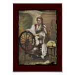 Norwegian Girl a Spinning Wheel Poster