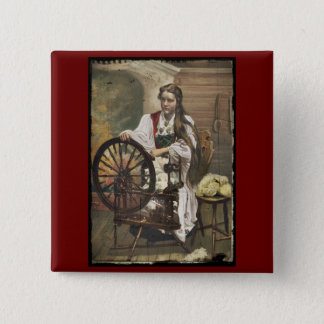 Norwegian Girl at a Spinning Wheel 15 Cm Square Badge