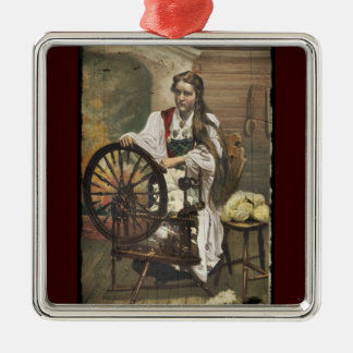 Norwegian Girl at a Spinning Wheel Christmas Ornament