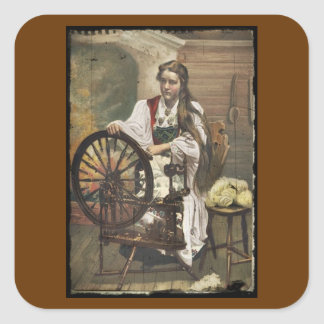 Norwegian Girl at a Spinning Wheel Square Sticker