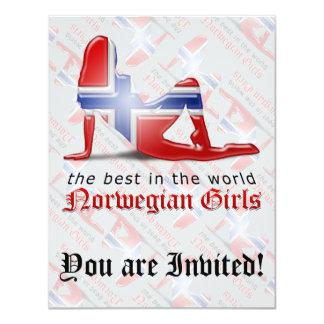 """Norwegian Girl Silhouette Flag 4.25"""" X 5.5"""" Invitation Card"""