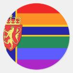 Norwegian GLBT Pride Flag Round Sticker
