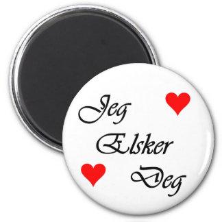 """Norwegian """"I love you"""" Norsk """"Jeg Elsker Deg"""" 6 Cm Round Magnet"""