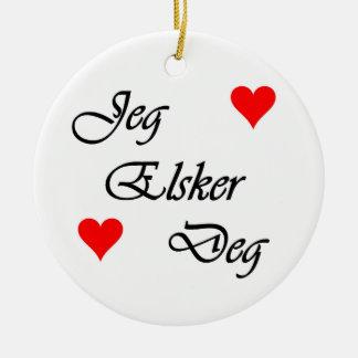 """Norwegian """"I love you"""" Norsk """"Jeg Elsker Deg"""" Christmas Ornament"""