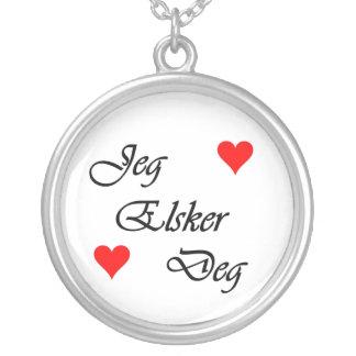 "Norwegian ""I love you"" Norsk Jeg Elsker Deg Nordic Silver Plated Necklace"