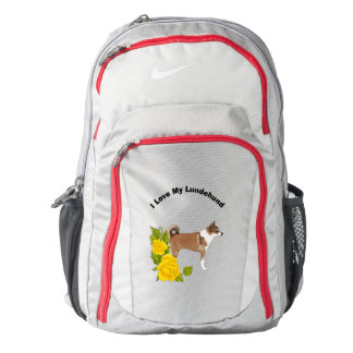 Norwegian Lundehund and Yellow Roses Backpack