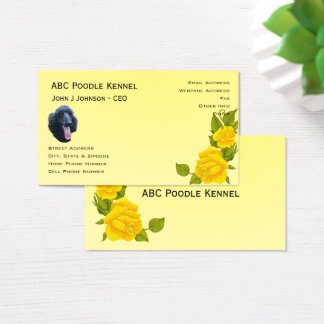 Norwegian Lundehund and Yellow Roses Business Card