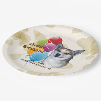 Norwegian Lundehund Happy Birthday Balloons Paper Plate