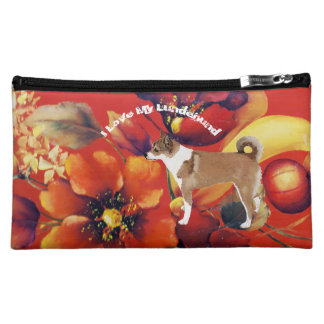 Norwegian Lundehund on Autumn Floral Cosmetic Bag