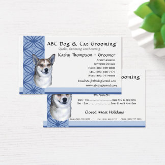 Norwegian Lundehund on Blue Design Business Card
