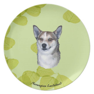 Norwegian Lundehund on Green Leaves Plate