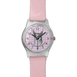 Norwegian Lundehund on Pink Gingham Watch