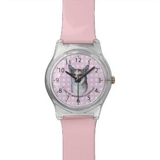 Norwegian Lundehund on Pink Gingham Wrist Watch
