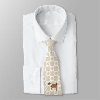 Norwegian Lundehund on Tan Design Tie