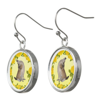 Norwegian Lundehund with Yellow Roses Earrings