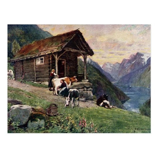 Norwegian milk maids' cabin postcard