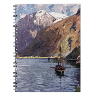 Norwegian river and mountains spiral notebook