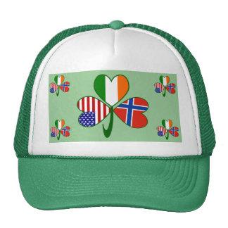 Norwegian Shamrock Green Background Cap