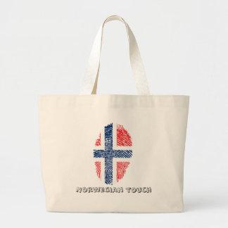 Norwegian touch fingerprint flag large tote bag