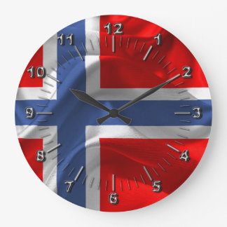 Norwegian waving flag large clock