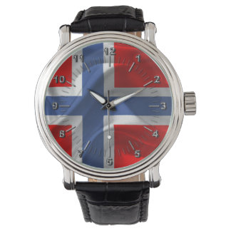 Norwegian waving flag wrist watches