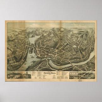 Norwich Connecticut 1876 Antique Panoramic Map Print