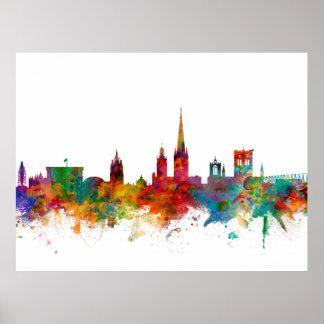 Norwich England Skyline Poster