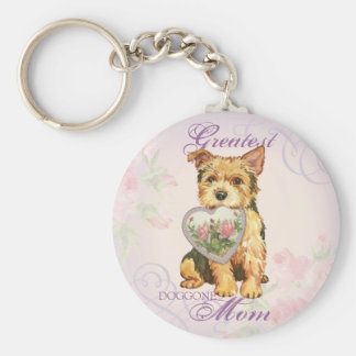 Norwich Heart Mom Basic Round Button Key Ring