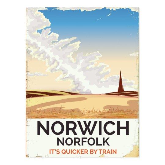 Norwich, Norfolk vintage style rail travel poster Postcard