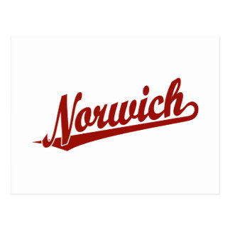 Norwich script logo in red postcard