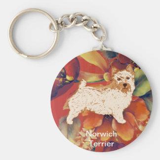 Norwich Terrier - Autumn Flower Design Basic Round Button Key Ring