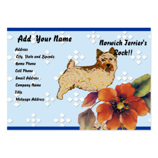 Norwich Terrier - Blue w/ White Diamond Design Pack Of Chubby Business Cards