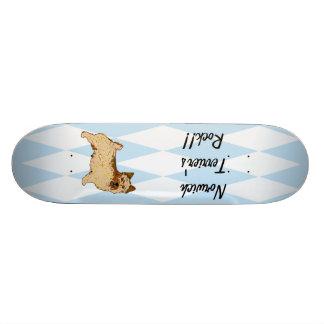 Norwich Terrier - Blue w/ White Diamond Design Skateboards