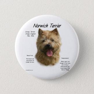 Norwich Terrier History Design 6 Cm Round Badge
