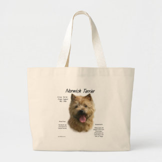 Norwich Terrier History Design Large Tote Bag