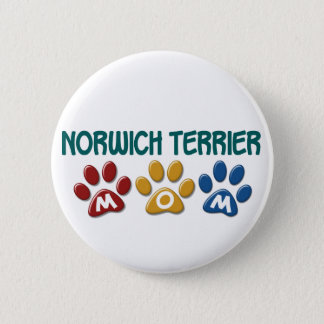 NORWICH TERRIER Mom Paw Print 1 6 Cm Round Badge