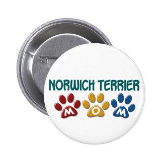NORWICH TERRIER Mom Paw Print 1 6 Cm Round Badge