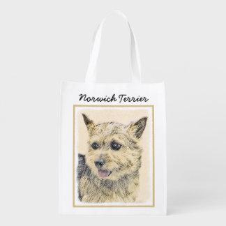 Norwich Terrier Painting - Cute Original Dog Art Reusable Grocery Bag
