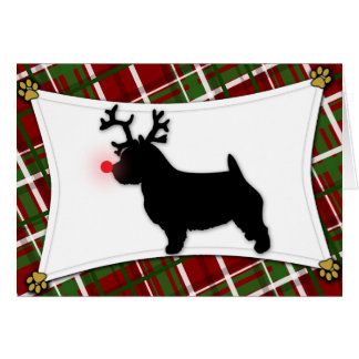 Norwich Terrier Reindeer Christmas Card