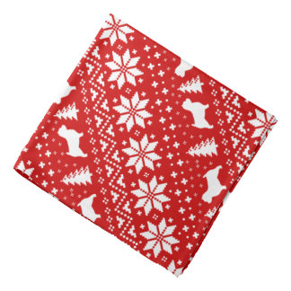Norwich Terrier Silhouettes Christmas Pattern Bandana