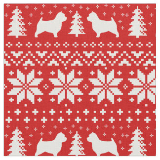 Norwich Terrier Silhouettes Christmas Pattern Fabric