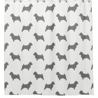 Norwich Terrier Silhouettes Pattern Shower Curtain