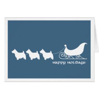 Norwich Terriers Pulling Santa's Sleigh Card